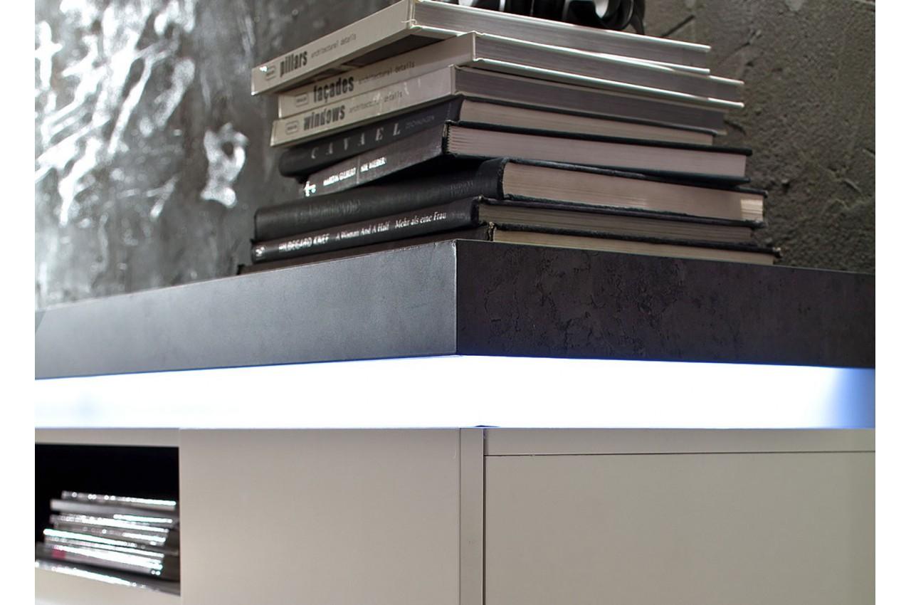meuble tv design laqu blanc mat et effet b ton led. Black Bedroom Furniture Sets. Home Design Ideas