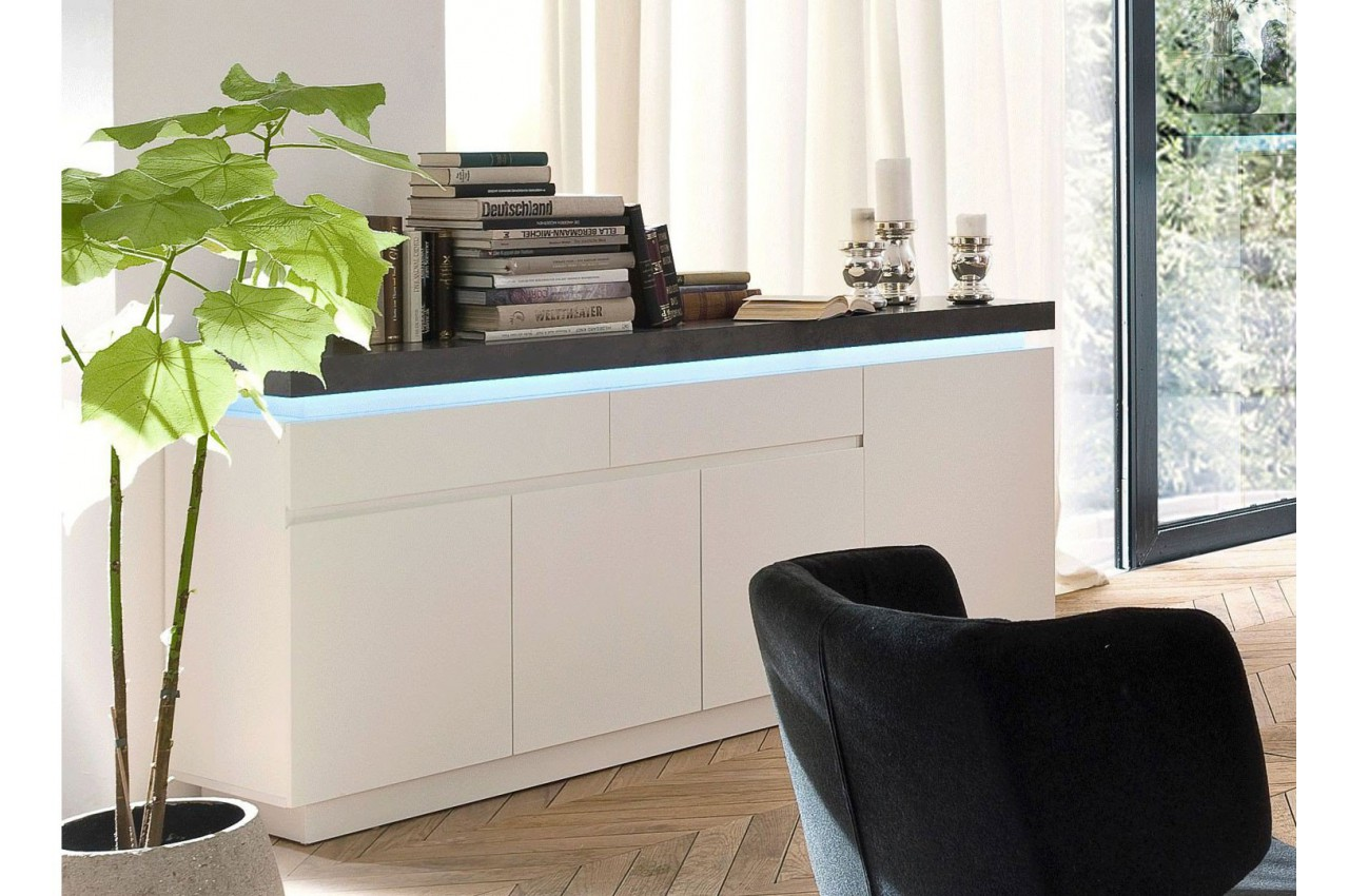 buffet design laqu blanc mat et b ton led cbc meubles. Black Bedroom Furniture Sets. Home Design Ideas