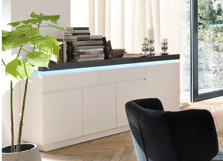 Buffet design laqué blanc mat et béton à led