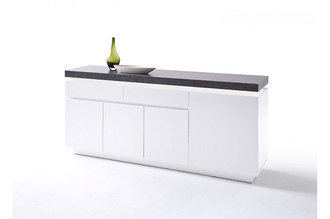 buffet design laqu blanc mat et b ton led cbc meubles. Black Bedroom Furniture Sets. Home Design Ideas