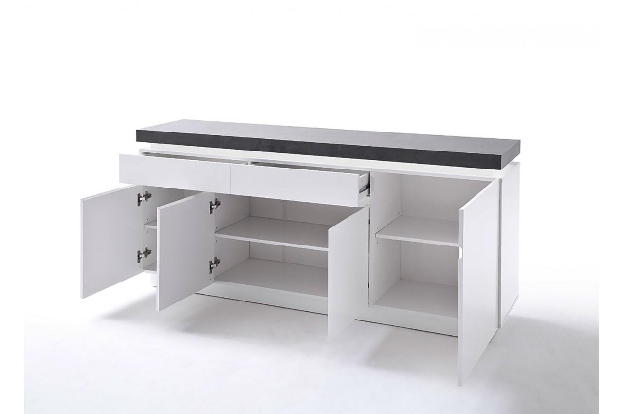 Buffet design laqu blanc mat et b ton led cbc meubles - Buffet moderne blanc ...