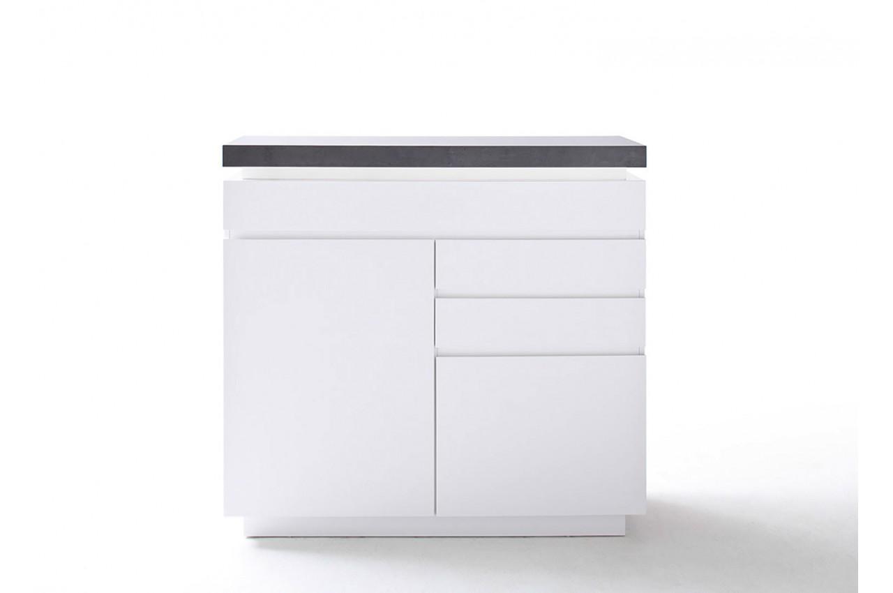 Commode design blanche laqu e matte et grise cbc meubles for Meuble salon gris blanc