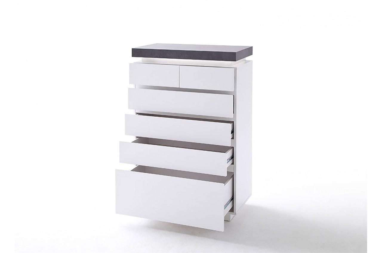 commode design blanche et grise 6 tiroirs cbc meubles. Black Bedroom Furniture Sets. Home Design Ideas