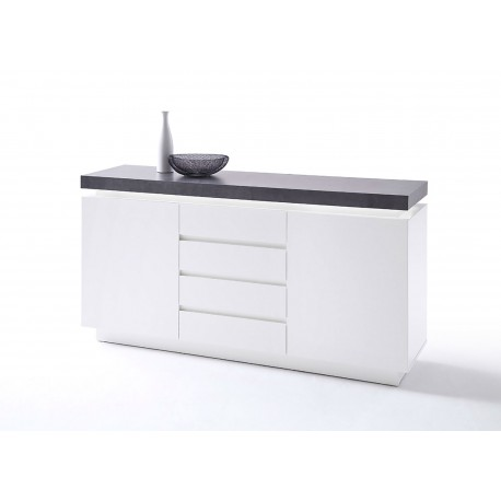 Buffet design laqué blanc mat 2 portes