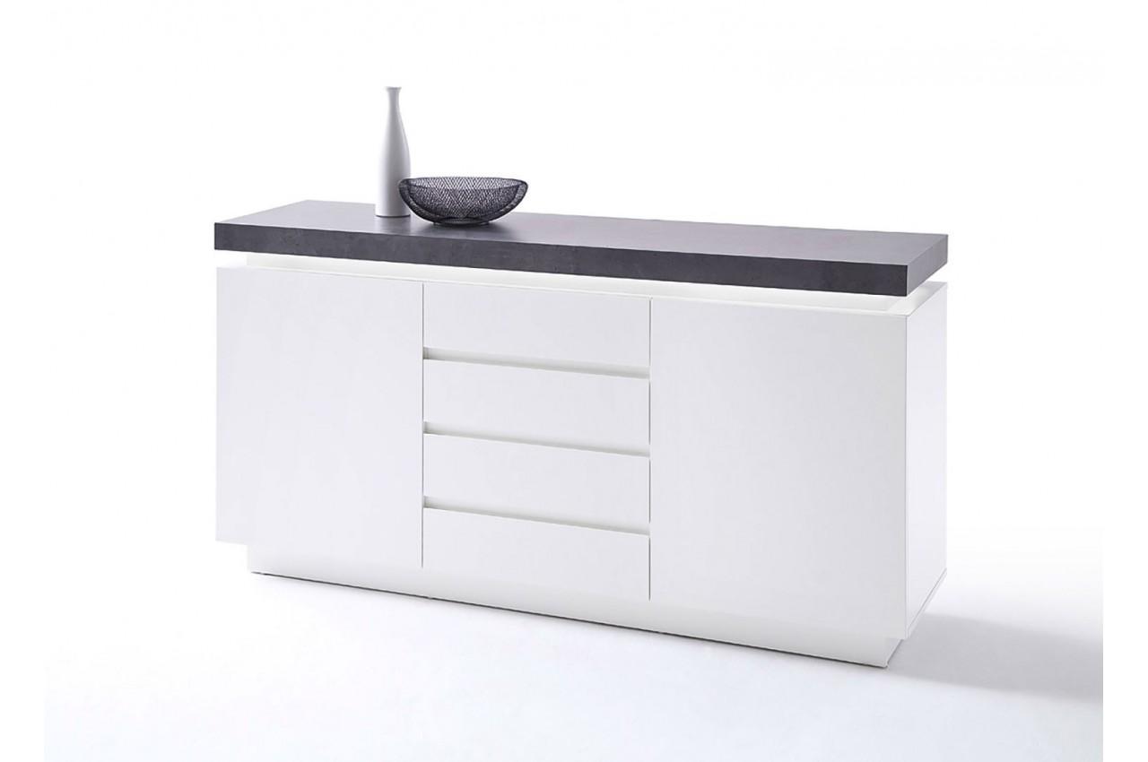 buffet design laqu blanc mat 2 portes cbc meubles. Black Bedroom Furniture Sets. Home Design Ideas