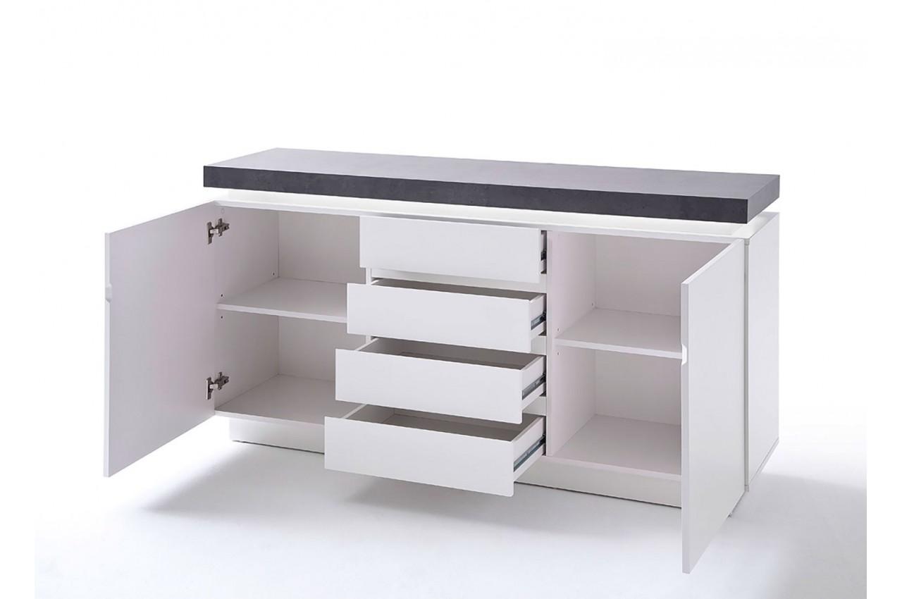 Buffet Design Laqué Blanc Mat 2 Portes Cbc Meubles