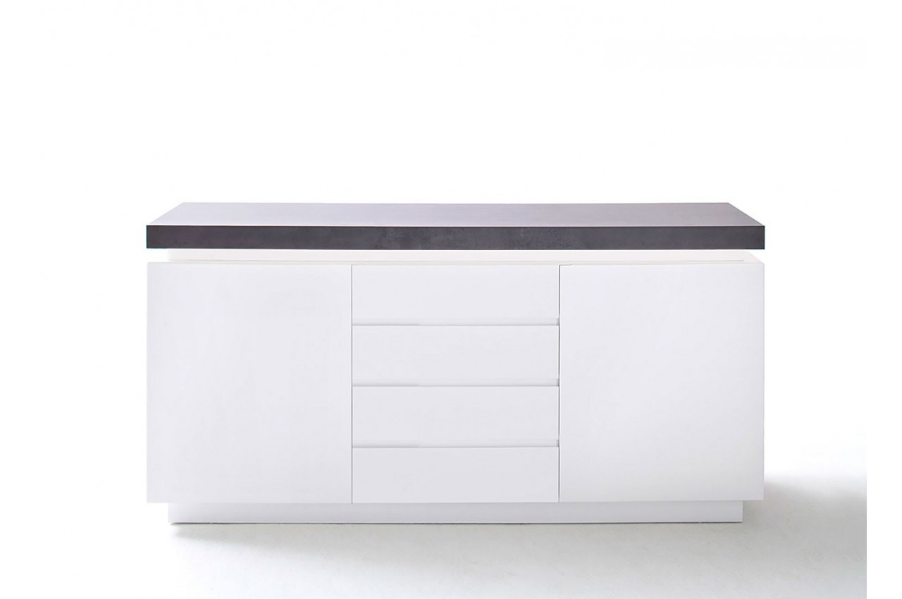 Buffet design laqu blanc mat 2 portes cbc meubles for Meuble buffet design