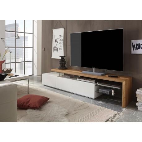 Meuble tv design blanc et plateau ch ne massif cbc meubles for Meuble tv blanc plateau bois