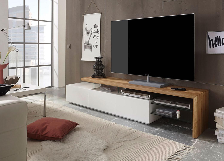 Meuble TV design blanc et plateau chêne massif