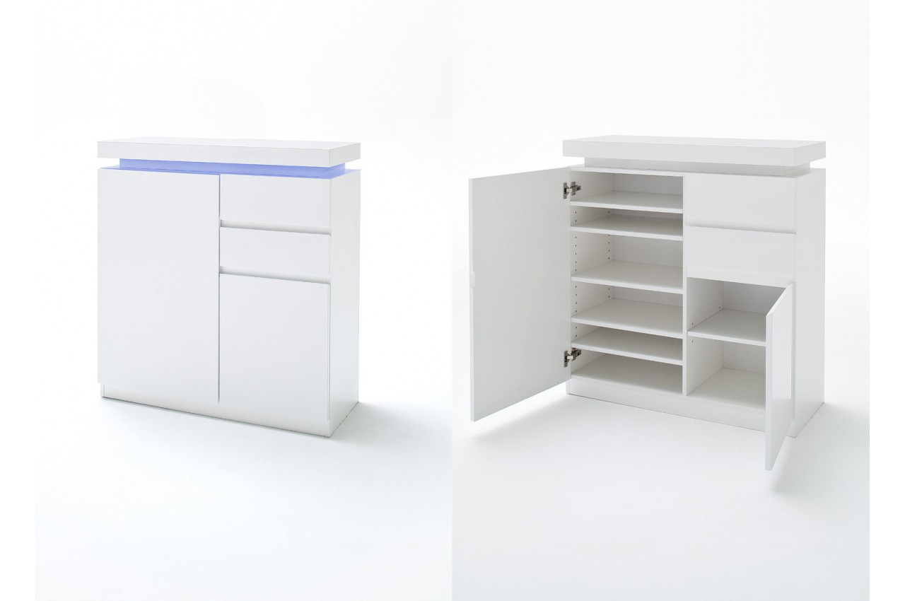 ensemble d 39 entr e complet blanc laqu cbc meubles. Black Bedroom Furniture Sets. Home Design Ideas