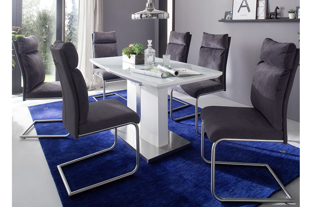 table repas blanc laqu cbc meubles. Black Bedroom Furniture Sets. Home Design Ideas