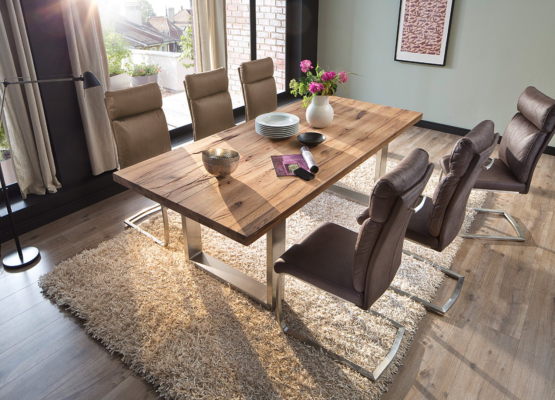 Table repas bois massif chêne sauvage