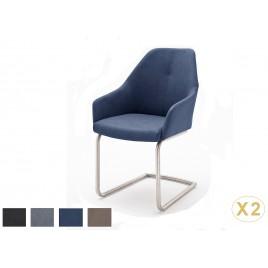 Chaises design simili cuir pied traineau