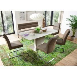 Table repas taupe avec allonge plateau verre