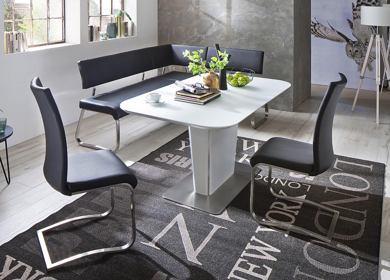 Table repas blanche avec allonge plateau verre