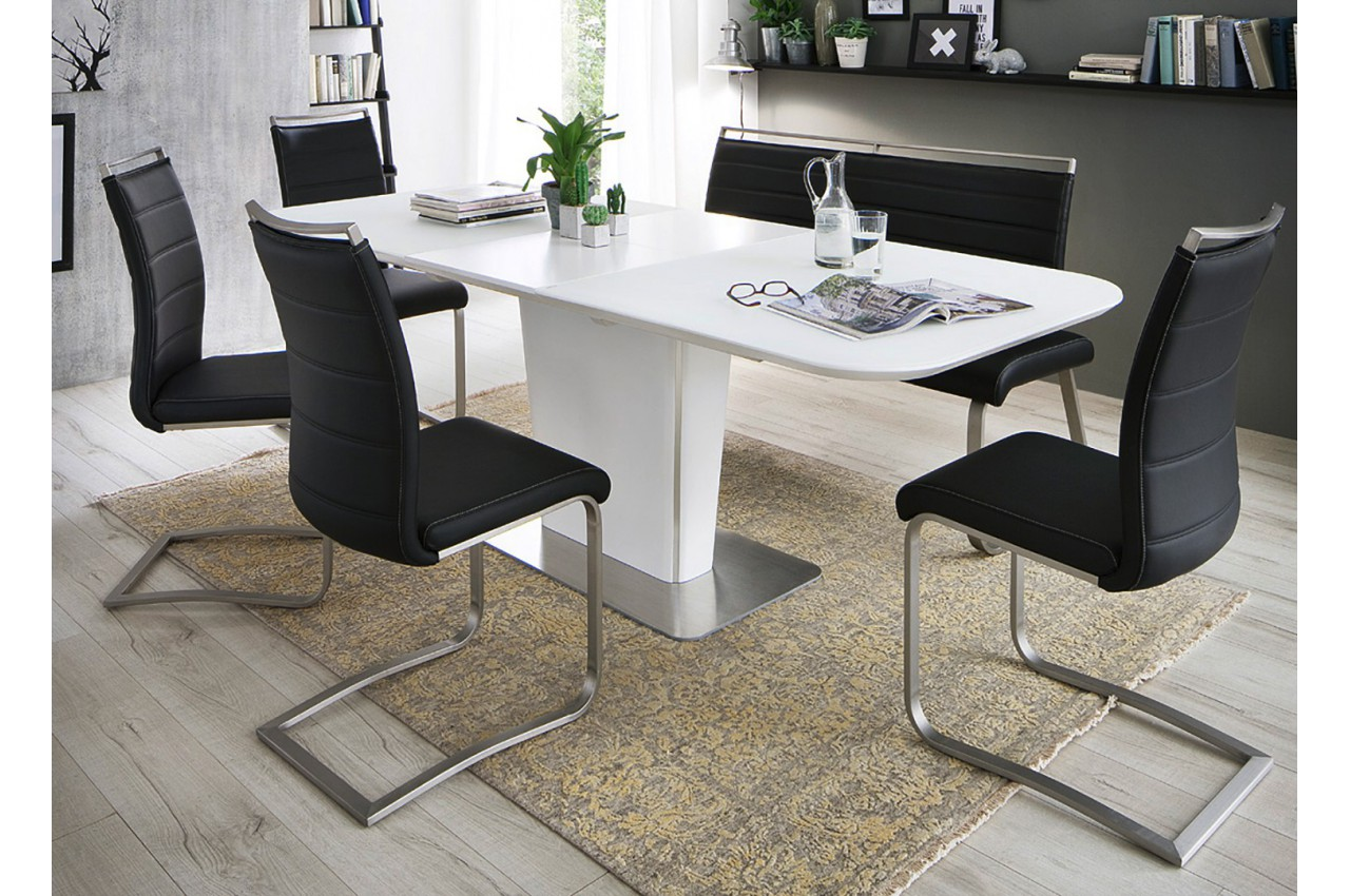 table repas blanche avec allonge plateau verre cbc meubles. Black Bedroom Furniture Sets. Home Design Ideas