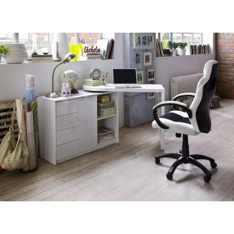 Bureau design blanc laqué plateau pivotant