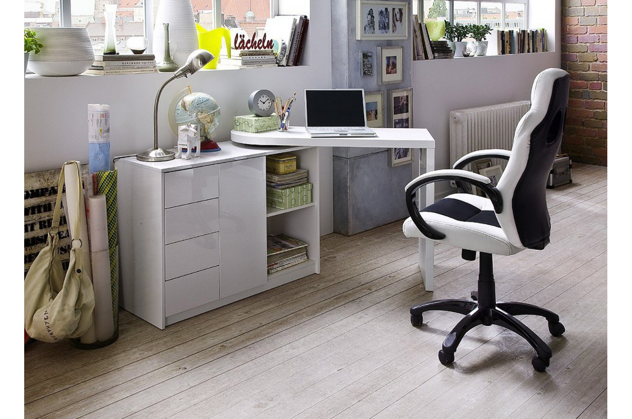 Bureau design blanc laqué plateau pivotant cbc meubles