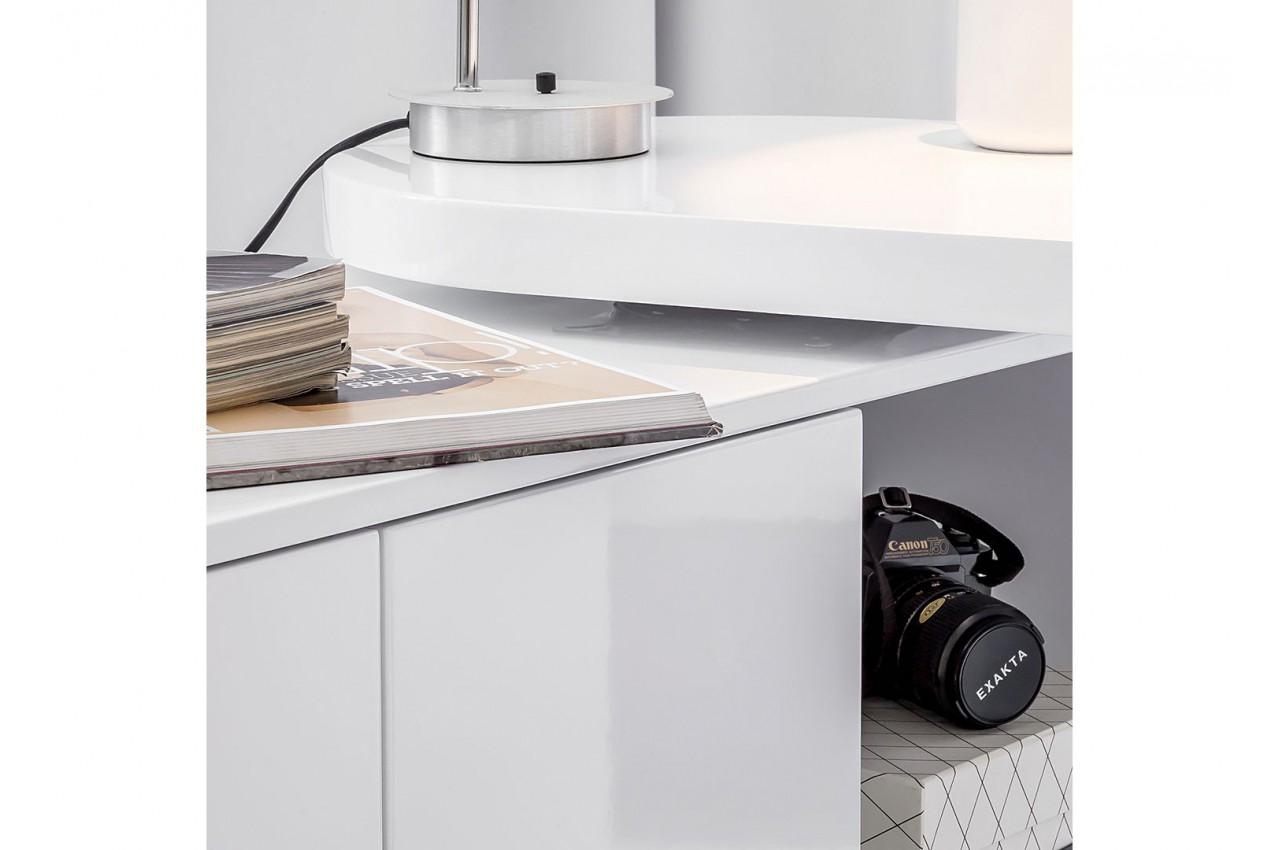 Bureau design blanc laqu plateau pivotant cbc meubles - Bureau pas cher blanc ...