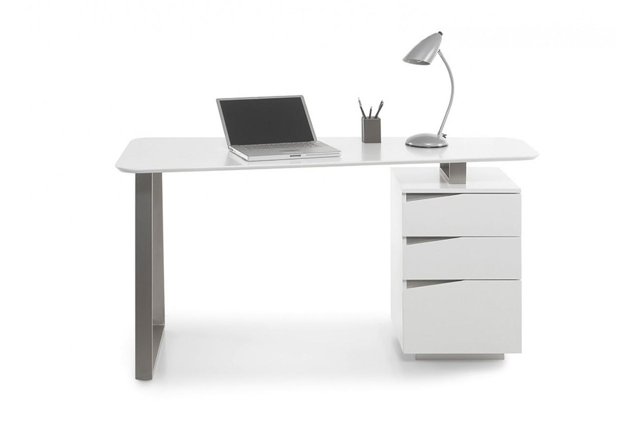 Bureau blanc cbc meubles for Meuble bureau blanc