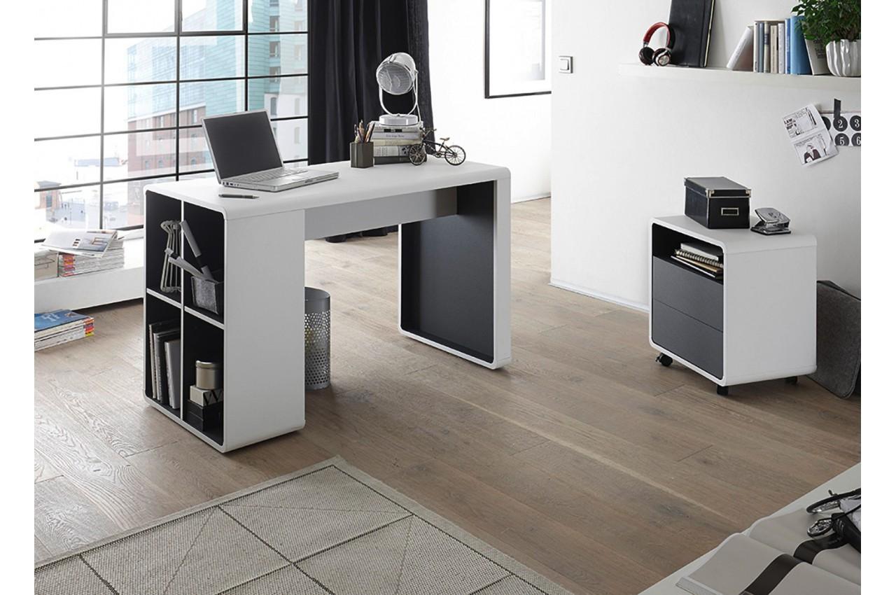 bureau blanc et anthracite avec caisson cbc meubles. Black Bedroom Furniture Sets. Home Design Ideas