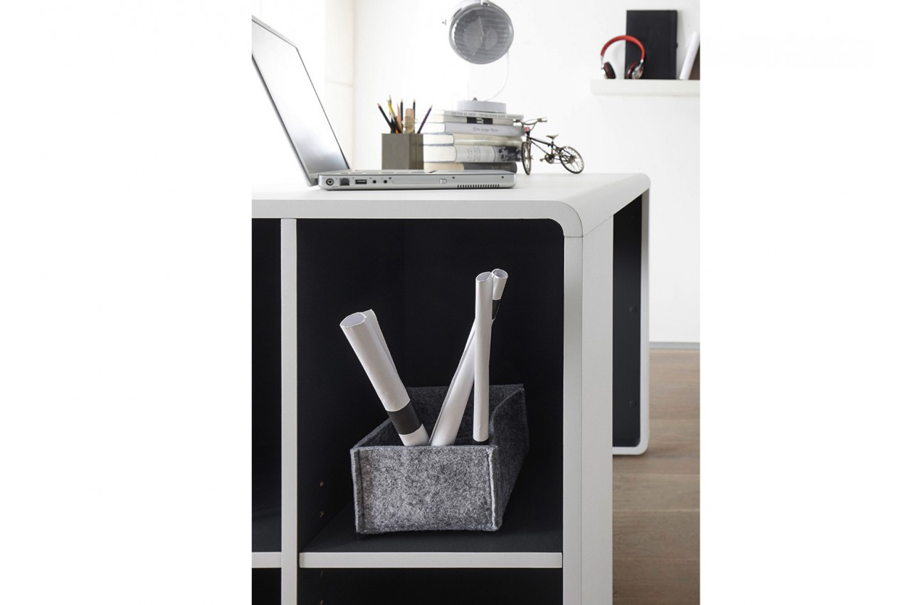 bureau blanc et anthracite avec caisson cbc meubles. Black Bedroom Furniture Sets. Home Design Ideas