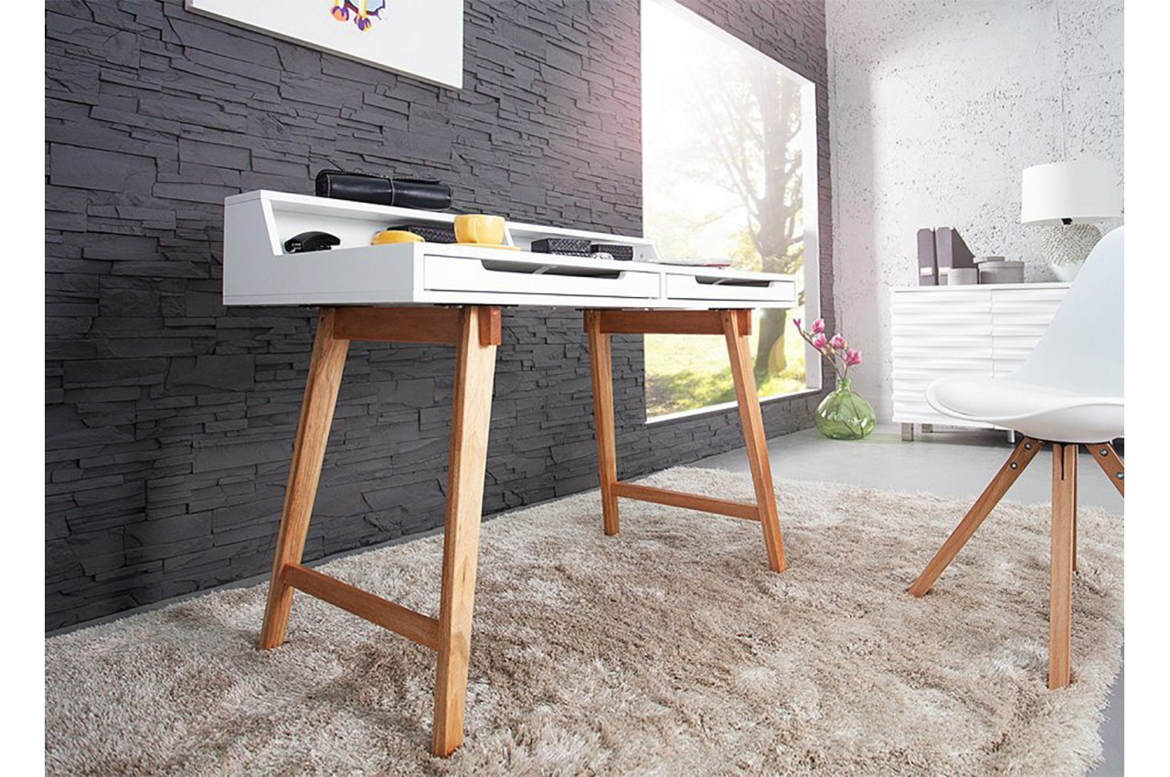 Bureau scandinave blanc et bois cbc meubles for Mobilier bureau scandinave