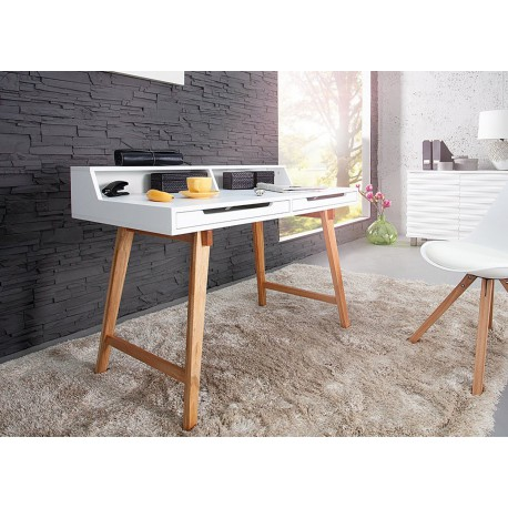 bureau scandinave blanc et bois cbc meubles. Black Bedroom Furniture Sets. Home Design Ideas