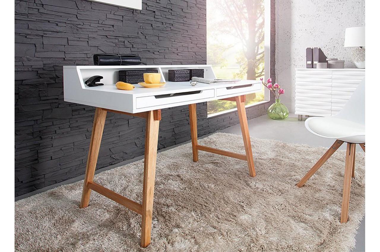 Bureau scandinave blanc et bois cbc meubles - Bureau bois et blanc ...