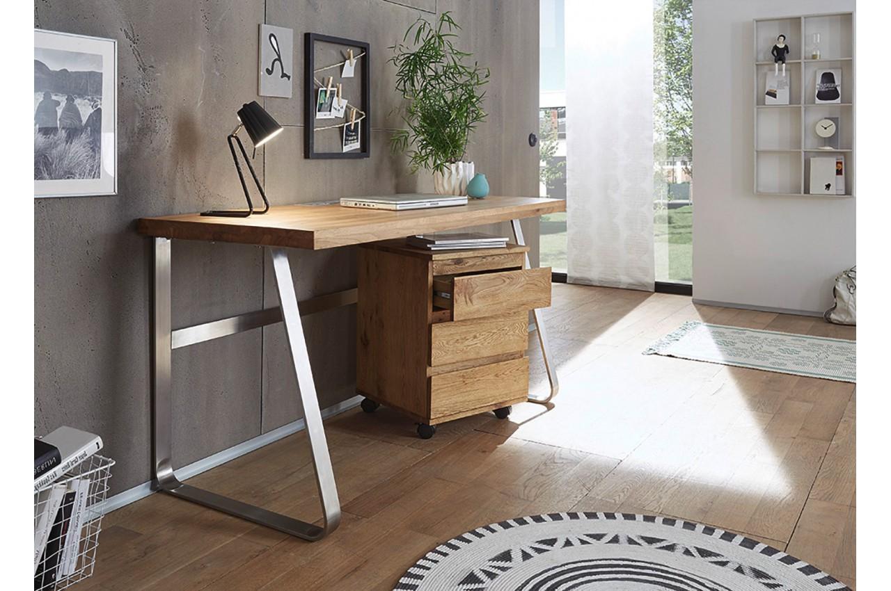 Bureau avec caisson en bois massif cbc meubles