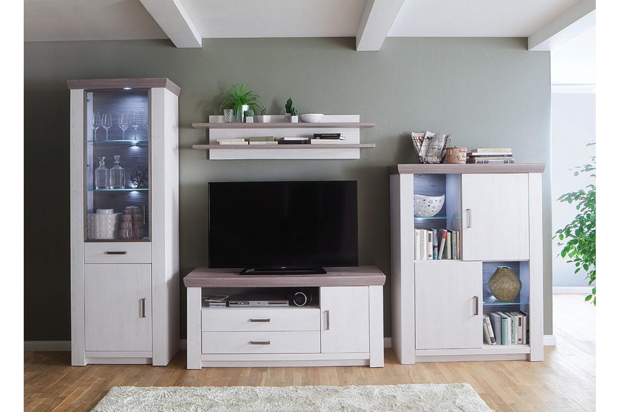 Meuble tv bois blanc cbc meubles for Meuble tv en bois blanc