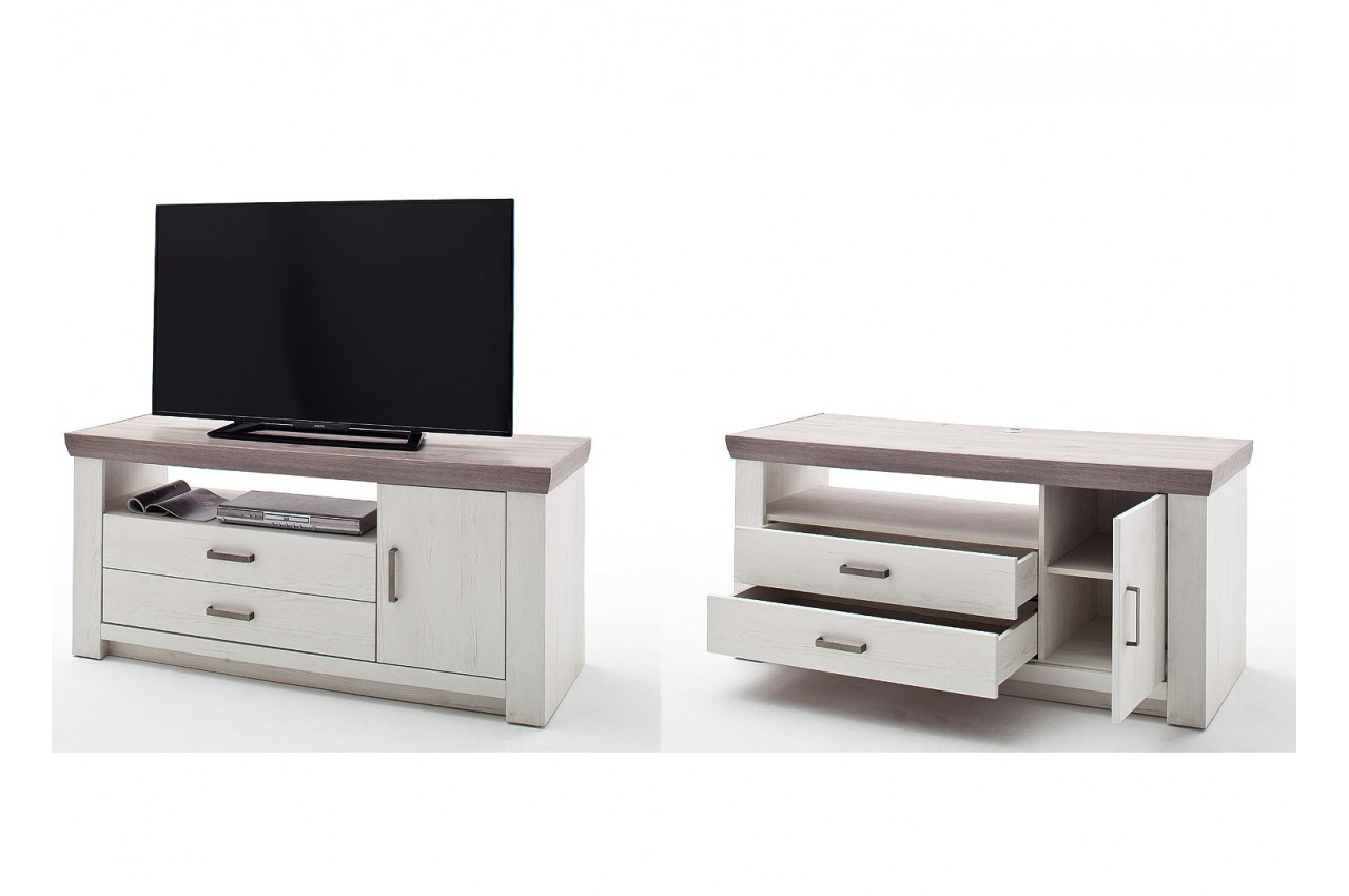meuble tv bois blanc cbc meubles. Black Bedroom Furniture Sets. Home Design Ideas