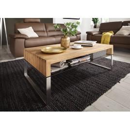 Table basse bois massif et verre
