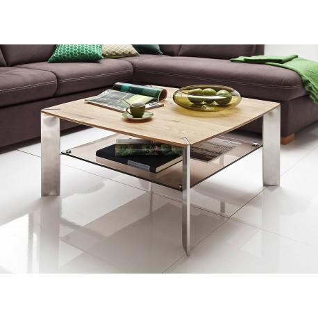 Table basse carrée chêne massif et verre