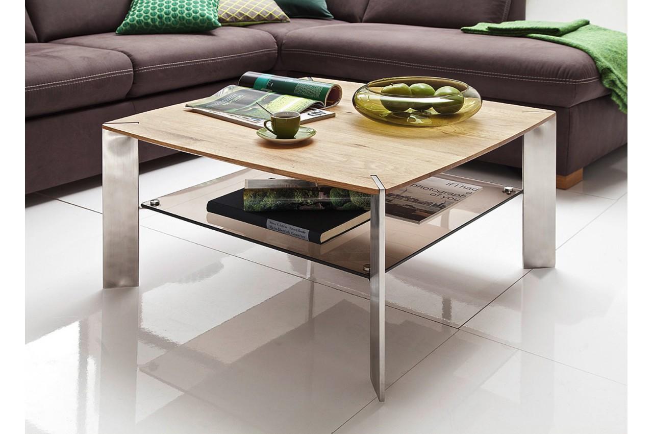 Table basse carrée chêne massif et verre - Cbc-Meubles dc58c06055bc