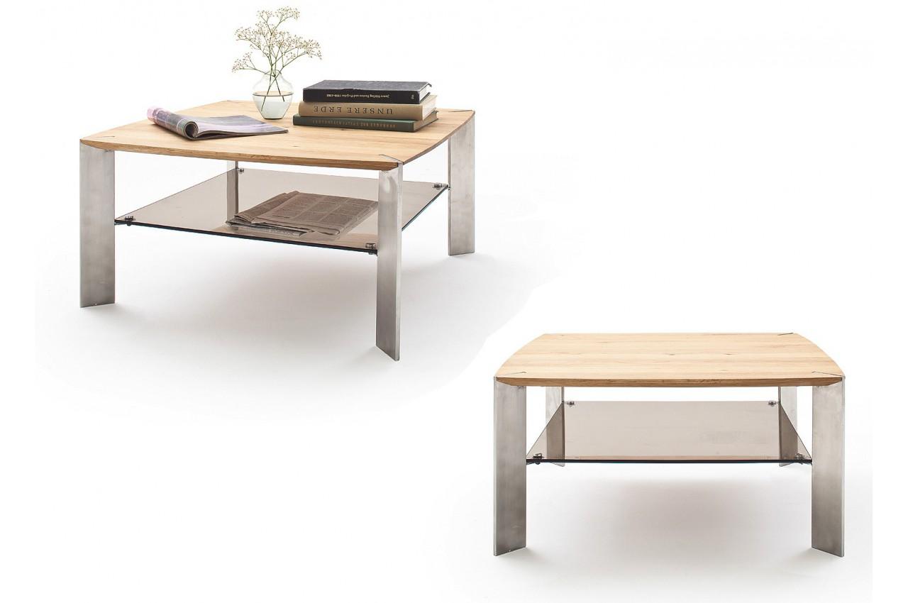 table basse carr e ch ne massif et verre cbc meubles. Black Bedroom Furniture Sets. Home Design Ideas