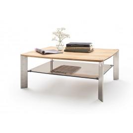 Table basse rectangulaire chêne massif et verre