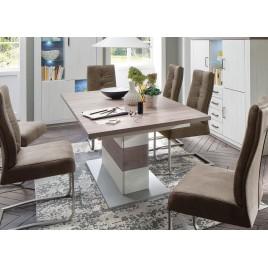 Table repas design extensible imitation pin blanc