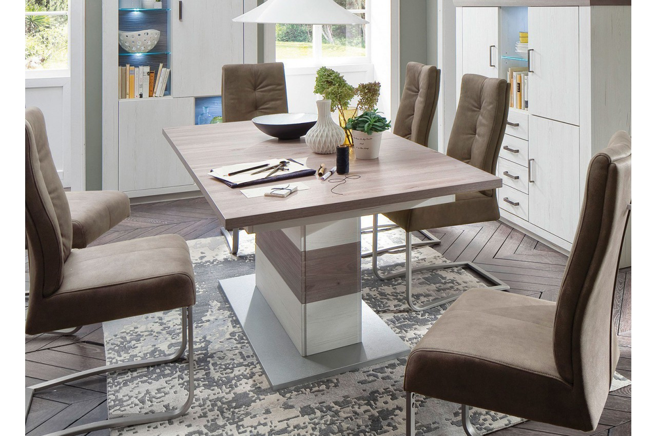 Table repas design extensible imitation pin blanc cbc for Imitation meubles design