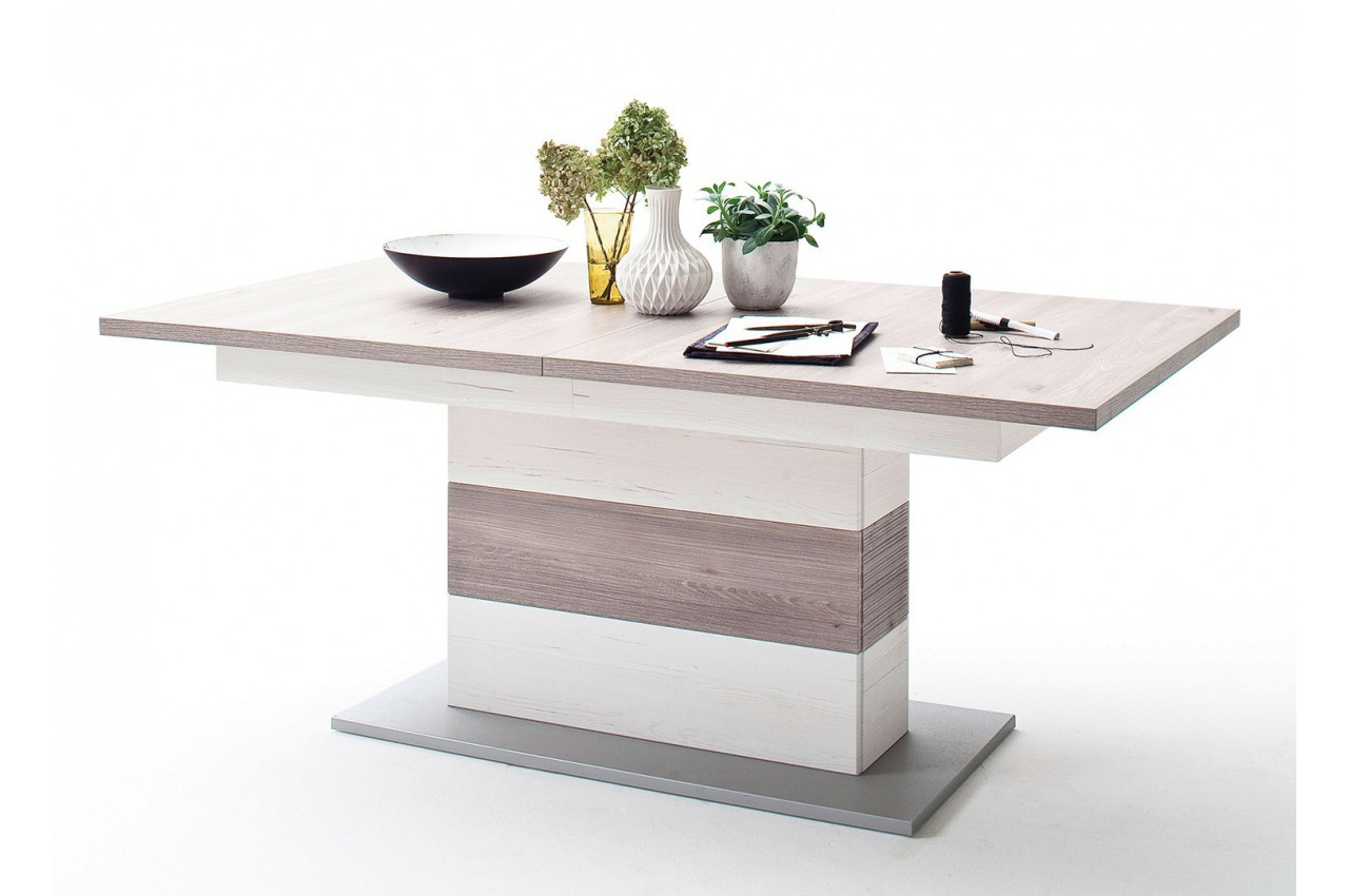 Table repas design extensible imitation pin blanc cbc for Table a manger avec allonges