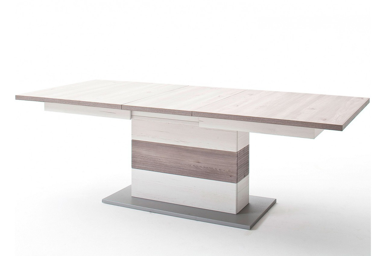 Table repas design extensible imitation pin blanc cbc for Imitation meuble designer