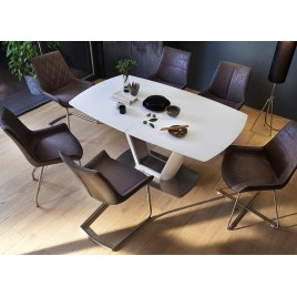 Table repas verre blanc extensible