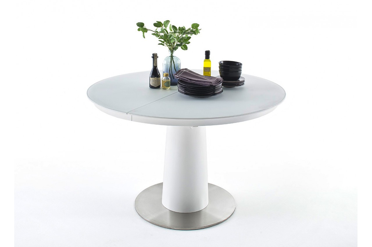 Table ronde en verre extensible cbc meubles for Meuble table ronde extensible
