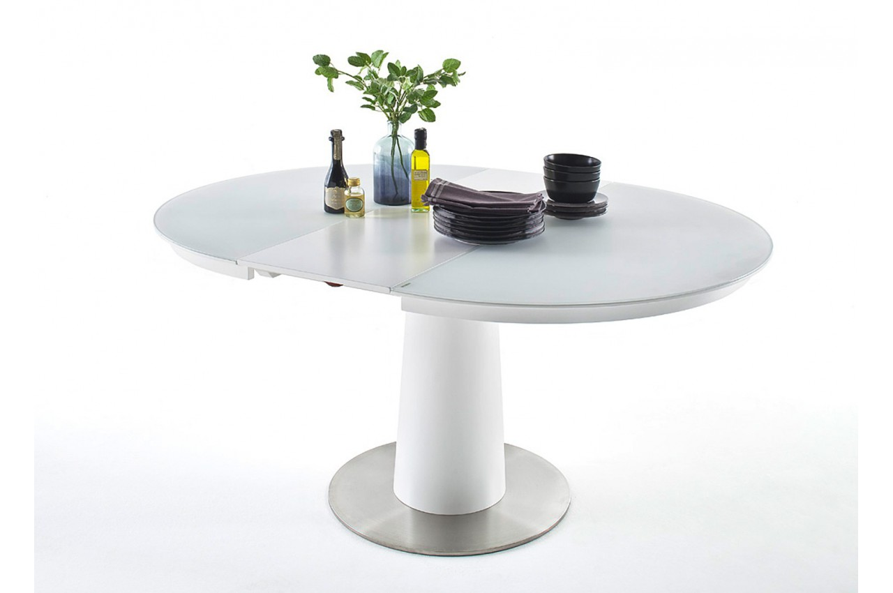 Table ronde en verre extensible cbc meubles for Table ronde verre extensible