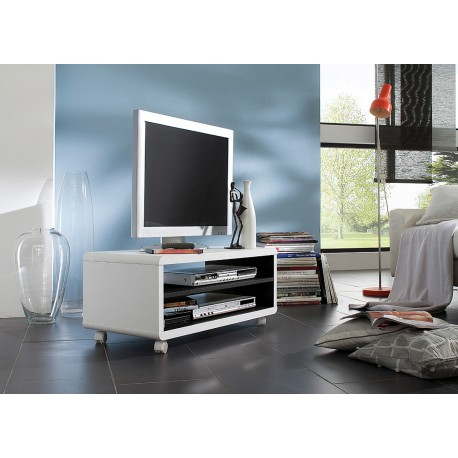 meuble tv blanc et noir sur roulettes pas cher cbc meubles. Black Bedroom Furniture Sets. Home Design Ideas