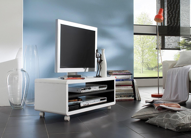 Meuble TV blanc et noir sur roulettes pas cher
