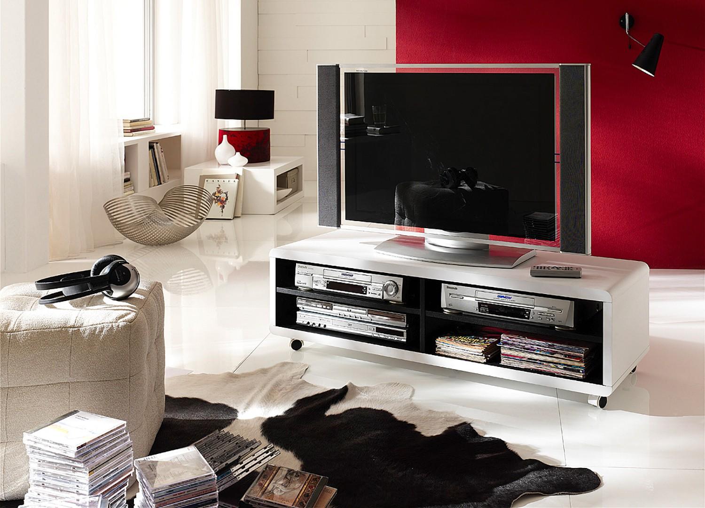 Meuble TV blanc et noir 120 cm pas cher