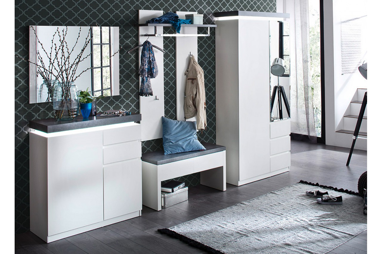 ensemble de meubles d 39 entr e blanc et gris cbc meubles. Black Bedroom Furniture Sets. Home Design Ideas
