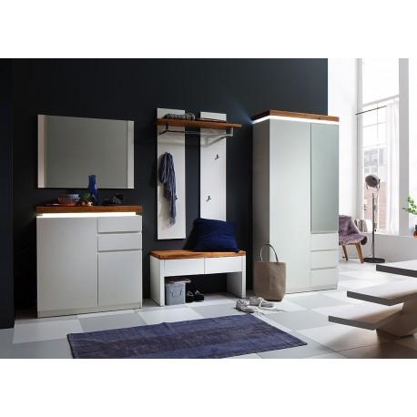 Ensemble de meubles d'entrée blanc et chêne massif