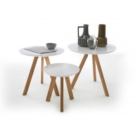 Lot de 3 tables d'appoint blanc laqué mat et bois